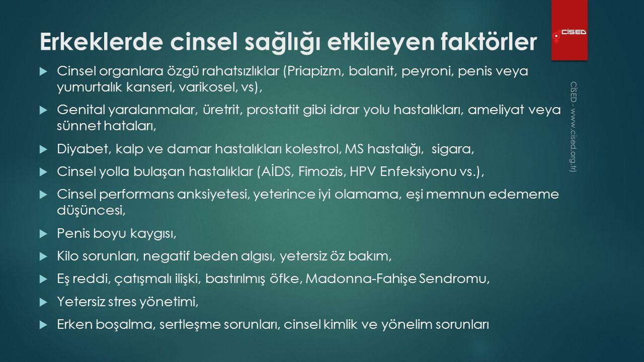 Erkeklerde cinsel sağlığı etkileyen faktörler  Cinsel organlara özgü rahatsızlıklar (Priapizm, balanit, peyroni, penis veya yumurtalık kanseri, varikosel, vs),  Genital yaralanmalar, üretrit, prostatit gibi idrar yolu hastalıkları, ameliyat veya sünnet hataları,  Diyabet, kalp ve damar hastalıkları kolestrol, MS hastalığı, sigara,  Cinsel yolla bulaşan hastalıklar (AİDS, Fimozis, HPV Enfeksiyonu vs.),  Cinsel performans anksiyetesi, yeterince iyi olamama, eşi memnun edememe düşüncesi,  Penis boyu kaygısı,  Kilo sorunları, negatif beden algısı, yetersiz öz bakım,  Eş reddi, çatışmalı ilişki, bastırılmış öfke, Madonna-Fahişe Sendromu,  Yetersiz stres yönetimi,  Erken boşalma, sertleşme sorunları, cinsel kimlik ve yönelim sorunları CİSED - www.cised.org.tr )