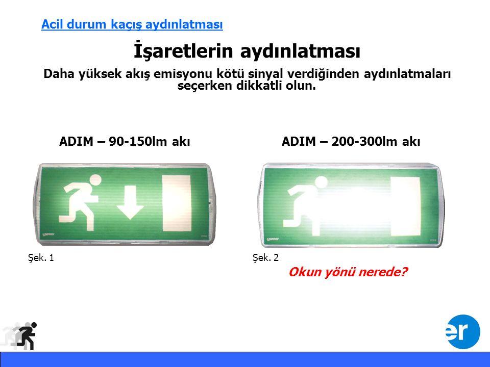 Acil durum kaçış aydınlatması İşaretlerin aydınlatması Daha yüksek akış emisyonu kötü sinyal verdiğinden aydınlatmaları seçerken dikkatli olun.