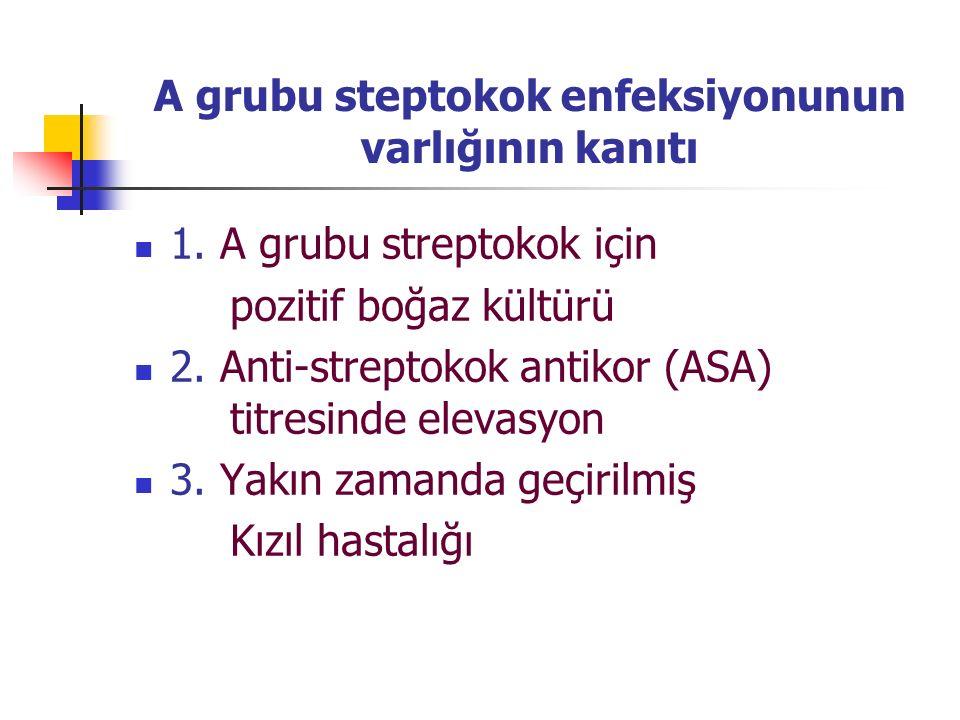 A grubu steptokok enfeksiyonunun varlığının kanıtı 1.
