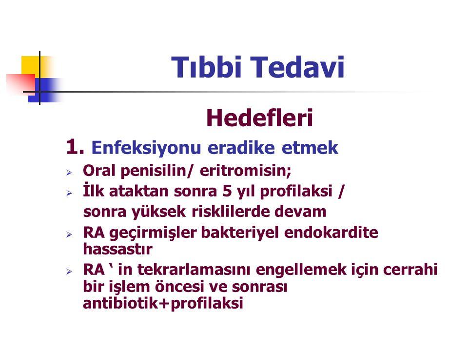 Tıbbi Tedavi Hedefleri 1. Enfeksiyonu eradike etmek  Oral penisilin/ eritromisin;  İlk ataktan sonra 5 yıl profilaksi / sonra yüksek risklilerde dev