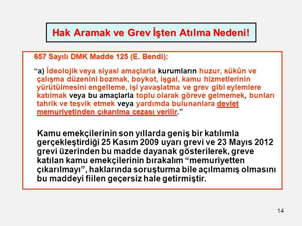 14 Hak Aramak ve Grev İşten Atılma Nedeni. 657 Sayılı DMK Madde 125 (E.
