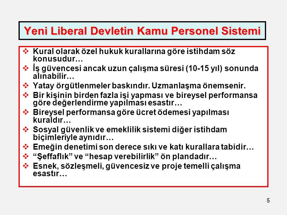 5 Yeni Liberal Devletin Kamu Personel Sistemi  Kural olarak özel hukuk kurallarına göre istihdam söz konusudur…  İş güvencesi ancak uzun çalışma süresi (10-15 yıl) sonunda alınabilir…  Yatay örgütlenmeler baskındır.