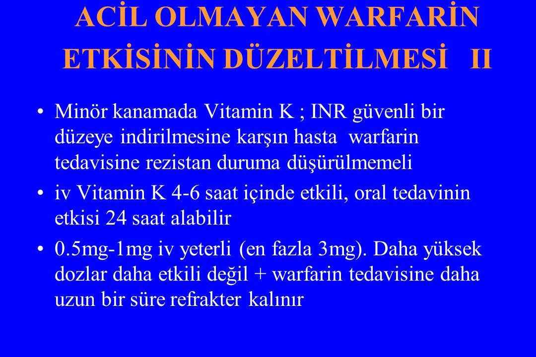 ACİL OLMAYAN WARFARİN ETKİSİNİN DÜZELTİLMESİ II Minör kanamada Vitamin K ; INR güvenli bir düzeye indirilmesine karşın hasta warfarin tedavisine rezis