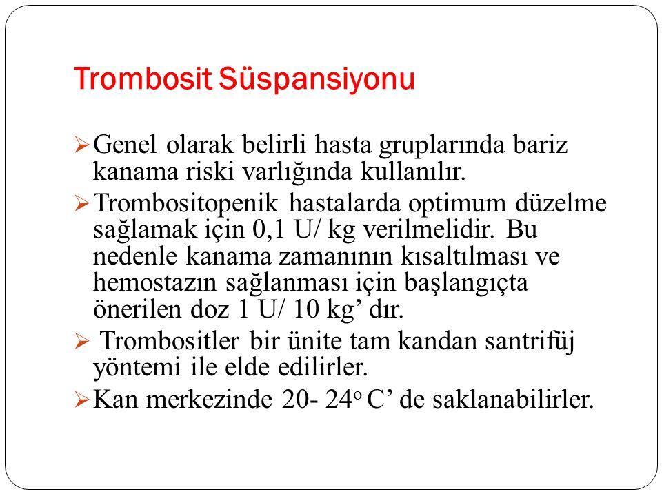 Trombosit Süspansiyonu  Genel olarak belirli hasta gruplarında bariz kanama riski varlığında kullanılır.  Trombositopenik hastalarda optimum düzelme