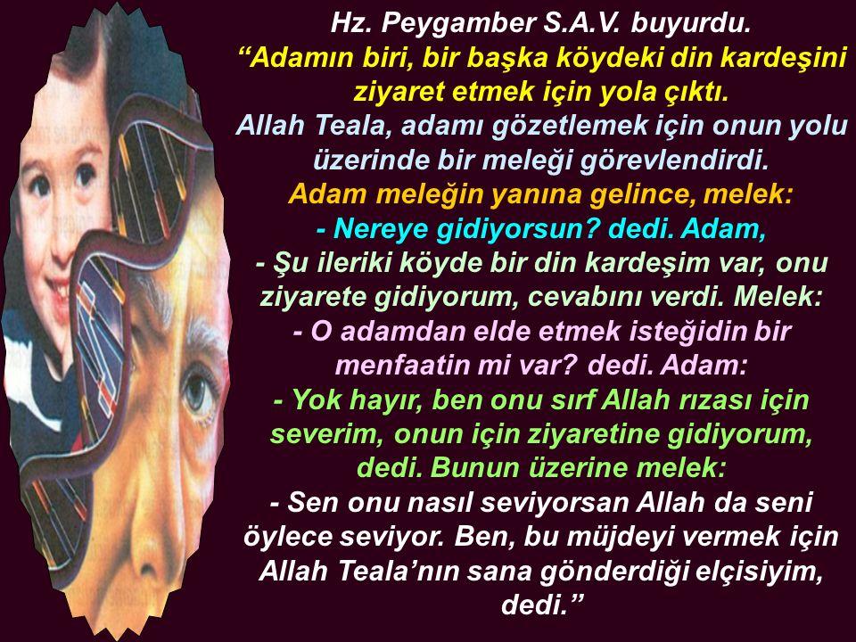 """Hz. Peygamber S.A.V. buyurdu. """"Adamın biri, bir başka köydeki din kardeşini ziyaret etmek için yola çıktı. Allah Teala, adamı gözetlemek için onun yol"""