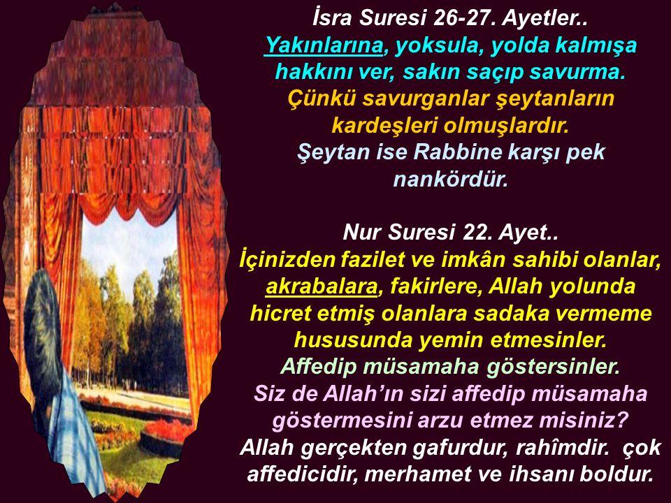 Hz.Peygamber (A.S.V.) diyor ki.. Akrabalık alakasını kesen, cennete giremez ..