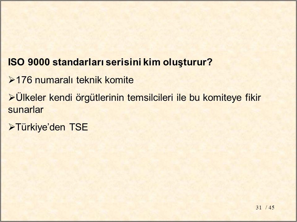 / 4531 ISO 9000 standarları serisini kim oluşturur.