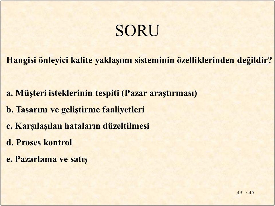/ 4543 SORU Hangisi önleyici kalite yaklaşımı sisteminin özelliklerinden değildir.