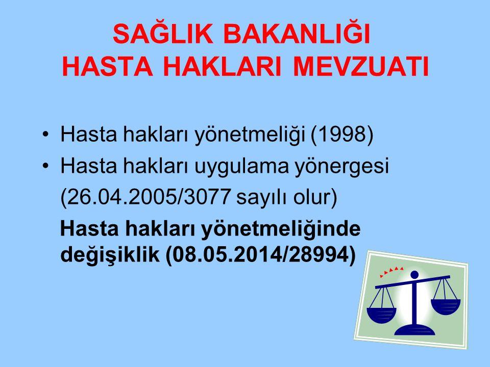 SAĞLIK BAKANLIĞI HASTA HAKLARI MEVZUATI Hasta hakları yönetmeliği (1998) Hasta hakları uygulama yönergesi (26.04.2005/3077 sayılı olur) Hasta hakları
