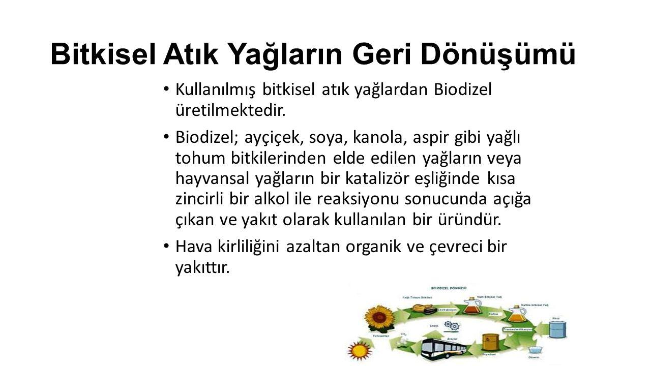 Bitkisel Atık Yağların Geri Dönüşümü Kullanılmış bitkisel atık yağlardan Biodizel üretilmektedir. Biodizel; ayçiçek, soya, kanola, aspir gibi yağlı to