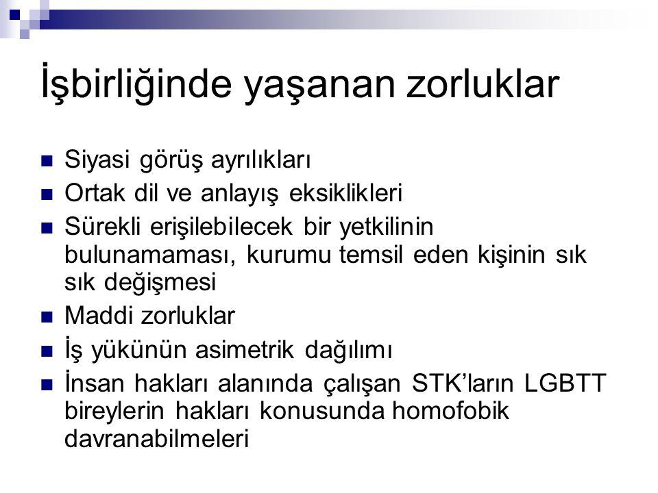 İşbirliğinde yaşanan zorluklar Siyasi görüş ayrılıkları Ortak dil ve anlayış eksiklikleri Sürekli erişilebilecek bir yetkilinin bulunamaması, kurumu temsil eden kişinin sık sık değişmesi Maddi zorluklar İş yükünün asimetrik dağılımı İnsan hakları alanında çalışan STK'ların LGBTT bireylerin hakları konusunda homofobik davranabilmeleri