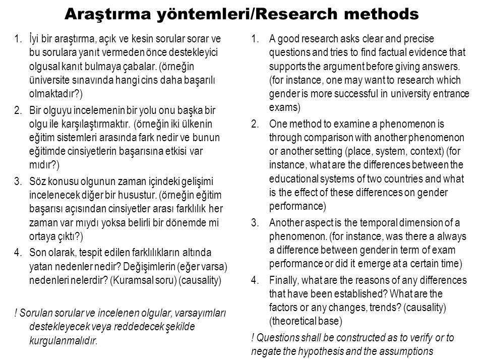 Araştırma yöntemleri/Research methods 1.İyi bir araştırma, açık ve kesin sorular sorar ve bu sorulara yanıt vermeden önce destekleyici olgusal kanıt bulmaya çabalar.