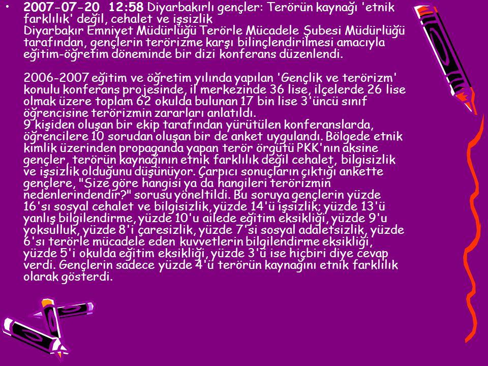 2007-07-20 12:58 Diyarbakırlı gençler: Terörün kaynağı 'etnik farklılık' değil, cehalet ve işsizlik Diyarbakır Emniyet Müdürlüğü Terörle Mücadele Şube