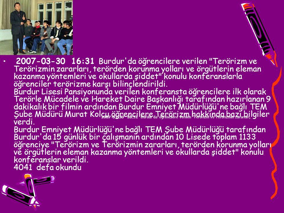 2007-07-20 12:58 Diyarbakırlı gençler: Terörün kaynağı etnik farklılık değil, cehalet ve işsizlik Diyarbakır Emniyet Müdürlüğü Terörle Mücadele Şubesi Müdürlüğü tarafından, gençlerin terörizme karşı bilinçlendirilmesi amacıyla eğitim-öğretim döneminde bir dizi konferans düzenlendi.
