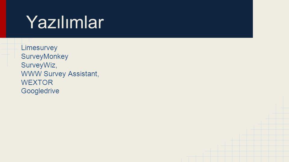 Yazılımlar Limesurvey SurveyMonkey SurveyWiz, WWW Survey Assistant, WEXTOR Googledrive