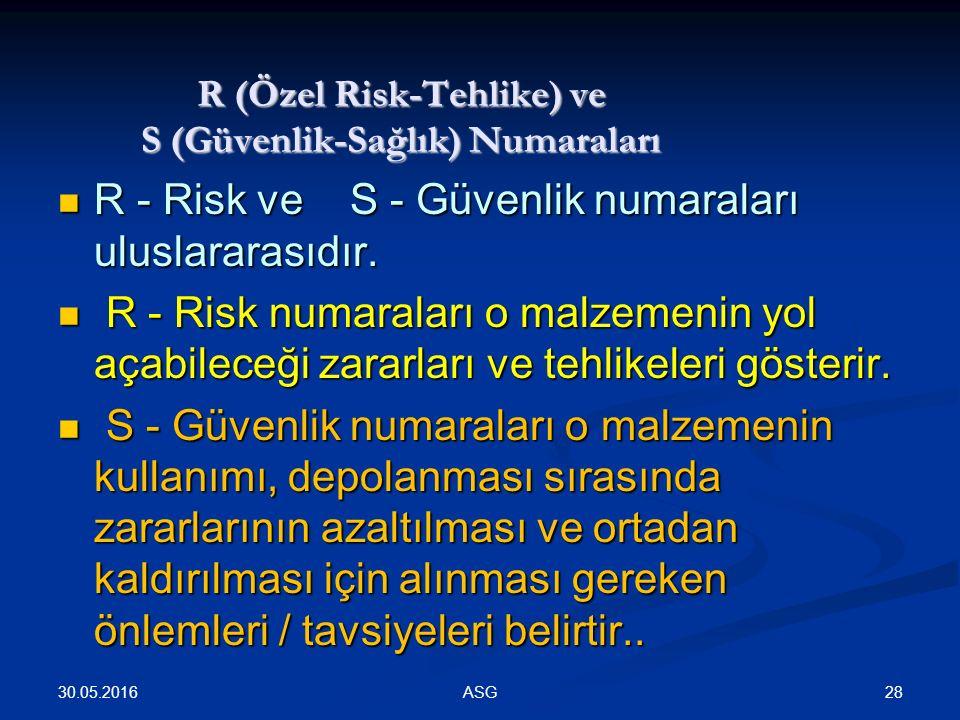 R (Özel Risk-Tehlike) ve S (Güvenlik-Sağlık) Numaraları R - Risk ve S - Güvenlik numaraları uluslararasıdır.
