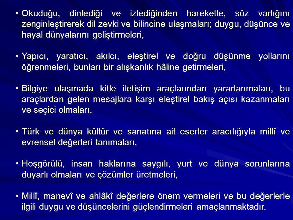 Genel Amaçlar Türkçe Dersi Öğretim Programı ile Türk Millî Eğitiminin genel amaçları ve temel ilkelerine uygun olarak öğrencilerin; Dilimizin, millî b