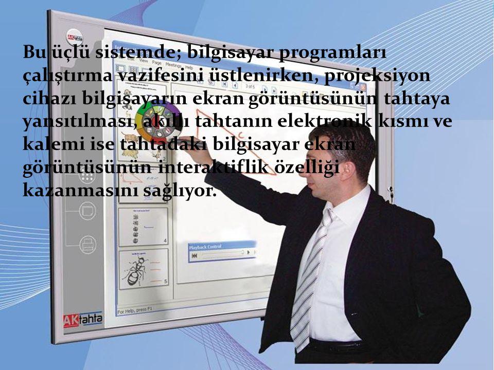 Bu üçlü sistemde; bilgisayar programları çalıştırma vazifesini üstlenirken, projeksiyon cihazı bilgisayarın ekran görüntüsünün tahtaya yansıtılması, a