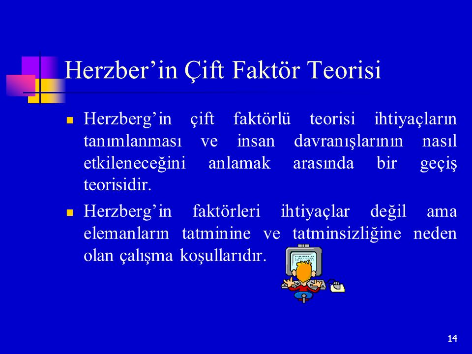 14 Herzber'in Çift Faktör Teorisi Herzberg'in çift faktörlü teorisi ihtiyaçların tanımlanması ve insan davranışlarının nasıl etkileneceğini anlamak ar
