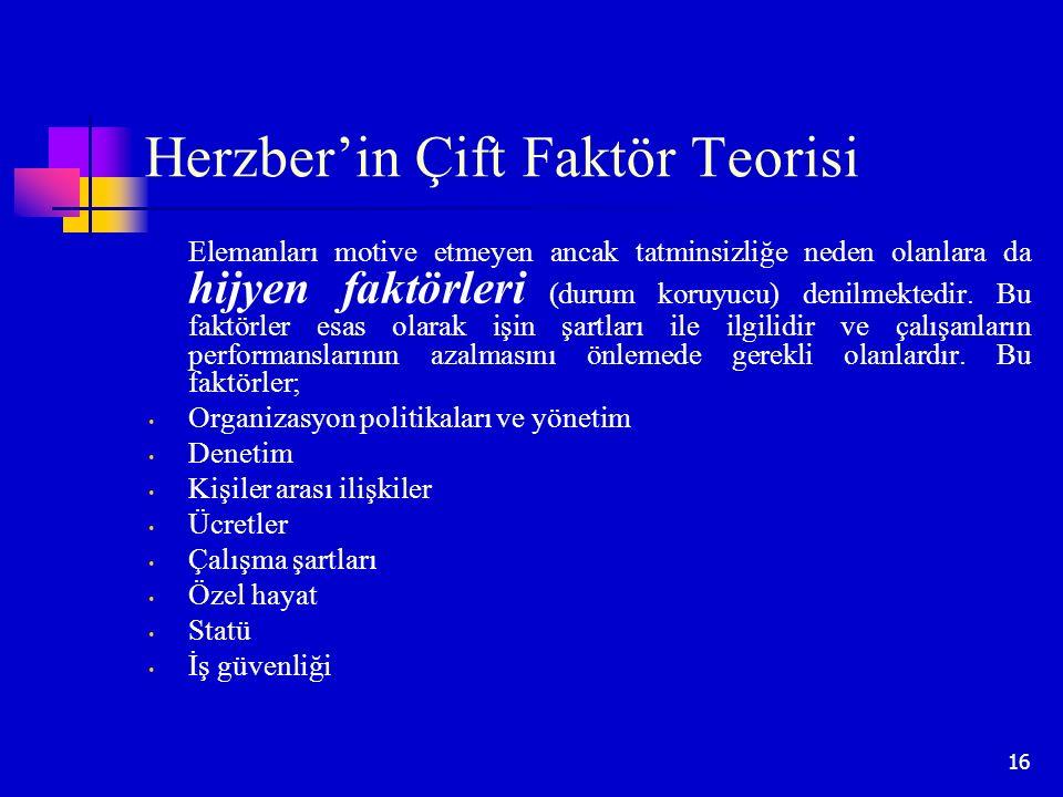 16 Herzber'in Çift Faktör Teorisi Elemanları motive etmeyen ancak tatminsizliğe neden olanlara da hijyen faktörleri (durum koruyucu) denilmektedir. Bu