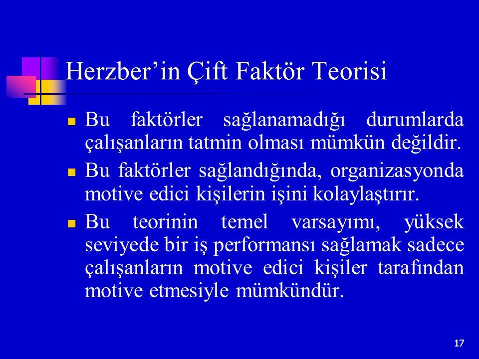 17 Herzber'in Çift Faktör Teorisi Bu faktörler sağlanamadığı durumlarda çalışanların tatmin olması mümkün değildir. Bu faktörler sağlandığında, organi