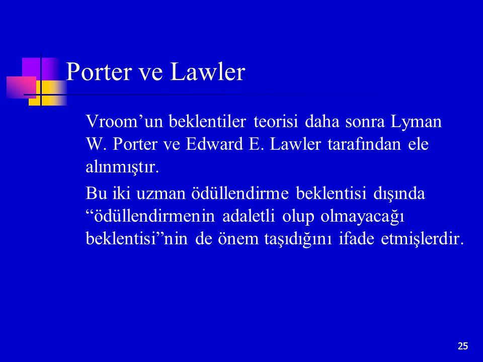 25 Porter ve Lawler Vroom'un beklentiler teorisi daha sonra Lyman W. Porter ve Edward E. Lawler tarafından ele alınmıştır. Bu iki uzman ödüllendirme b