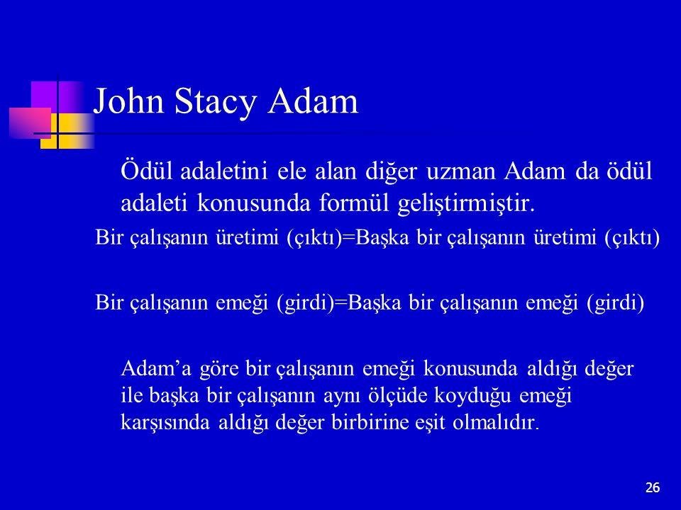 26 John Stacy Adam Ödül adaletini ele alan diğer uzman Adam da ödül adaleti konusunda formül geliştirmiştir. Bir çalışanın üretimi (çıktı)=Başka bir ç