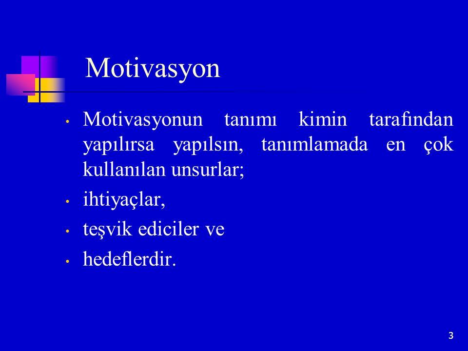 3 Motivasyon Motivasyonun tanımı kimin tarafından yapılırsa yapılsın, tanımlamada en çok kullanılan unsurlar; ihtiyaçlar, teşvik ediciler ve hedeflerd