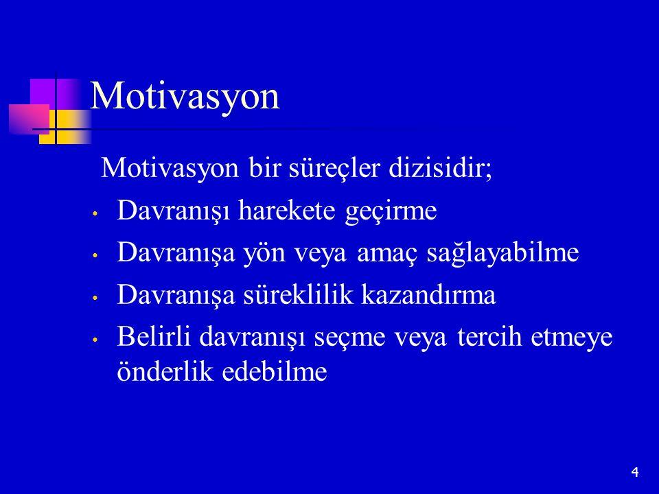 4 Motivasyon Motivasyon bir süreçler dizisidir; Davranışı harekete geçirme Davranışa yön veya amaç sağlayabilme Davranışa süreklilik kazandırma Belirl