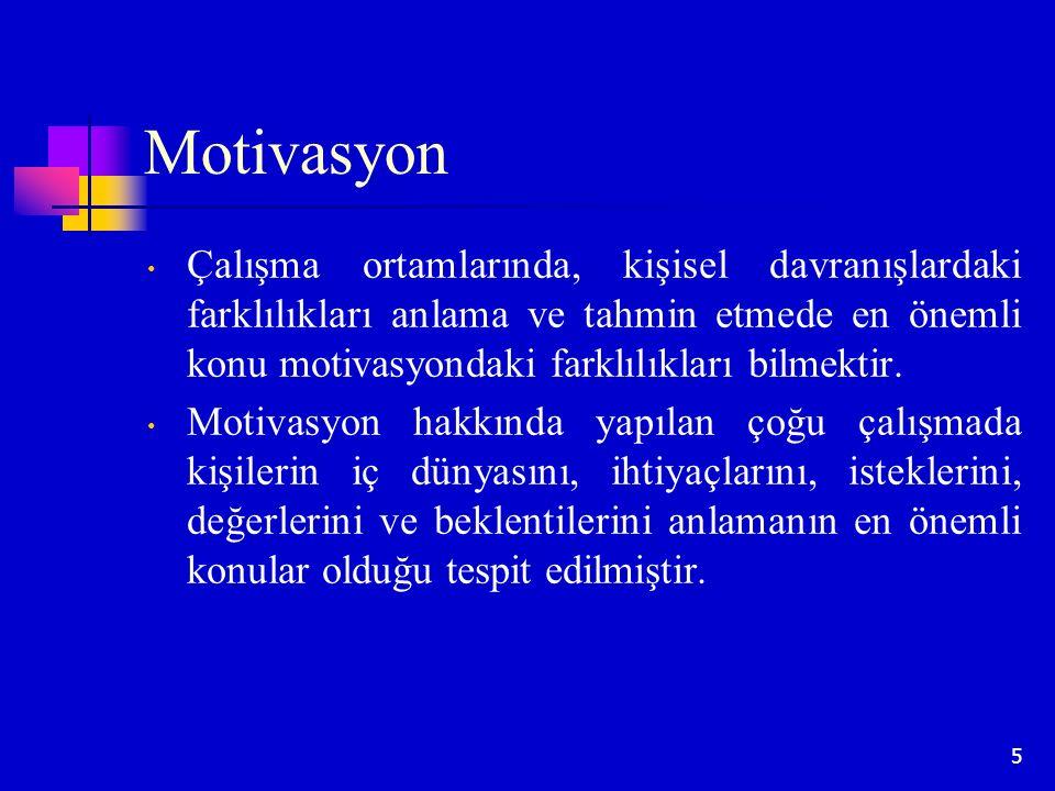 5 Motivasyon Çalışma ortamlarında, kişisel davranışlardaki farklılıkları anlama ve tahmin etmede en önemli konu motivasyondaki farklılıkları bilmektir