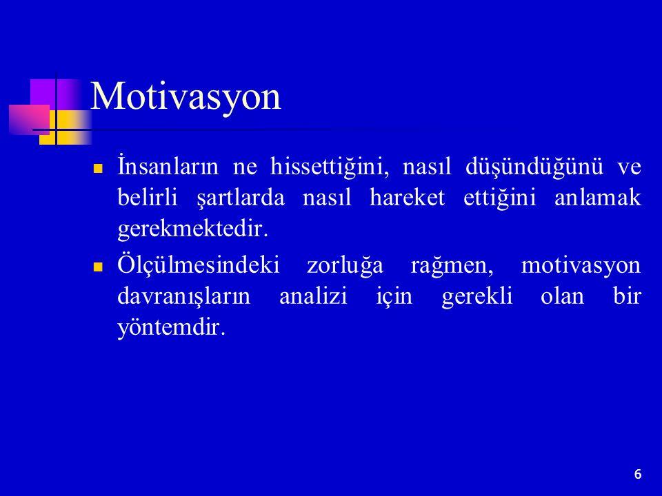6 Motivasyon İnsanların ne hissettiğini, nasıl düşündüğünü ve belirli şartlarda nasıl hareket ettiğini anlamak gerekmektedir. Ölçülmesindeki zorluğa r