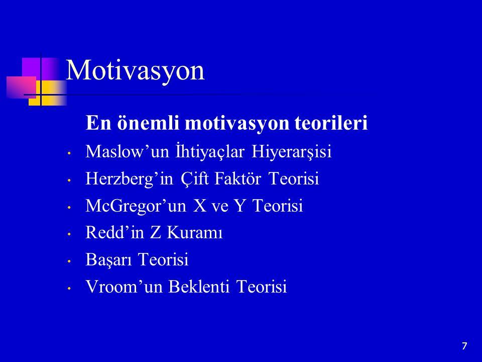 7 Motivasyon En önemli motivasyon teorileri Maslow'un İhtiyaçlar Hiyerarşisi Herzberg'in Çift Faktör Teorisi McGregor'un X ve Y Teorisi Redd'in Z Kura