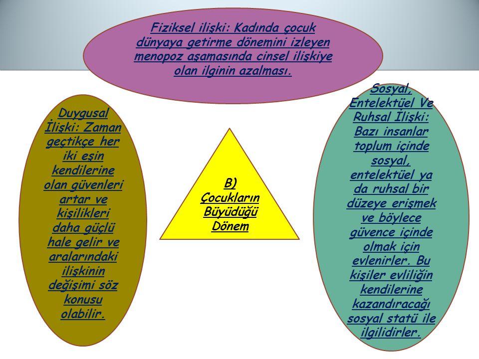 B) Çocukların Büyüdüğü Dönem Fiziksel ilişki: Kadında çocuk dünyaya getirme dönemini izleyen menopoz aşamasında cinsel ilişkiye olan ilginin azalması.