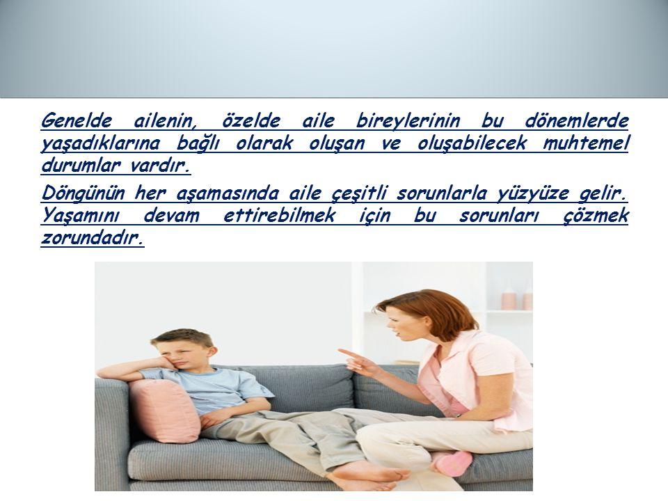 Genelde ailenin, özelde aile bireylerinin bu dönemlerde yaşadıklarına bağlı olarak oluşan ve oluşabilecek muhtemel durumlar vardır.