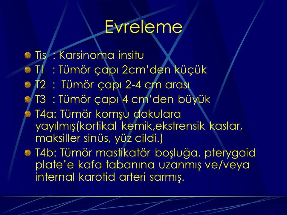 Evreleme Tis : Karsinoma insitu T1 : Tümör çapı 2cm'den küçük T2 : Tümör çapı 2-4 cm arası T3 : Tümör çapı 4 cm'den büyük T4a: Tümör komşu dokulara ya