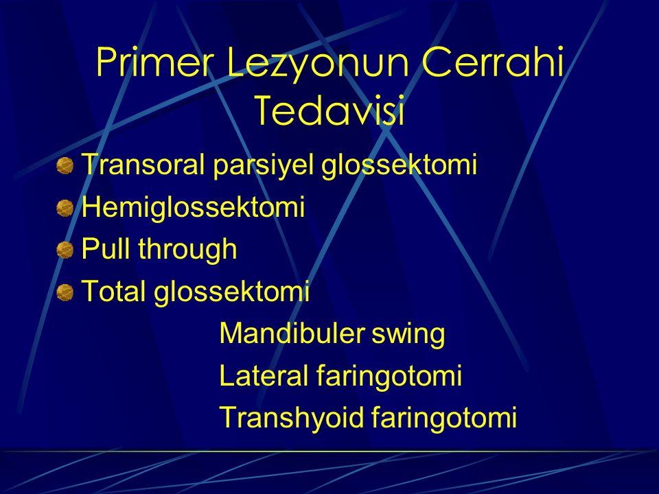 Primer Lezyonun Cerrahi Tedavisi Transoral parsiyel glossektomi Hemiglossektomi Pull through Total glossektomi Mandibuler swing Lateral faringotomi Tr