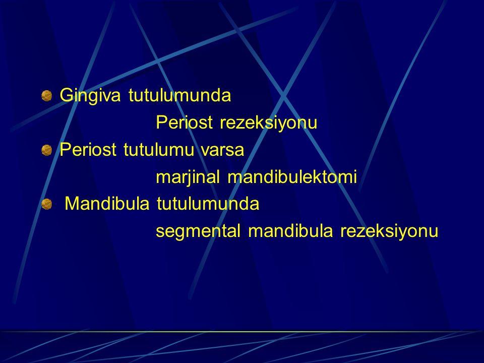 Gingiva tutulumunda Periost rezeksiyonu Periost tutulumu varsa marjinal mandibulektomi Mandibula tutulumunda segmental mandibula rezeksiyonu