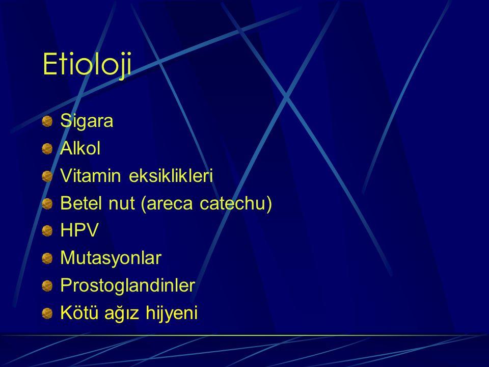 Etioloji Sigara Alkol Vitamin eksiklikleri Betel nut (areca catechu) HPV Mutasyonlar Prostoglandinler Kötü ağız hijyeni