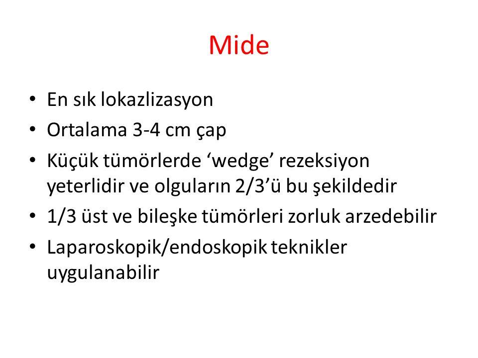 Mide En sık lokazlizasyon Ortalama 3-4 cm çap Küçük tümörlerde 'wedge' rezeksiyon yeterlidir ve olguların 2/3'ü bu şekildedir 1/3 üst ve bileşke tümör