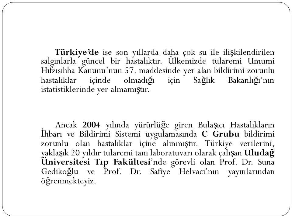 Türkiye'de ise son yıllarda daha çok su ile ili ş kilendirilen salgınlarla güncel bir hastalıktır. Ülkemizde tularemi Umumi Hıfzısıhha Kanunu'nun 57.