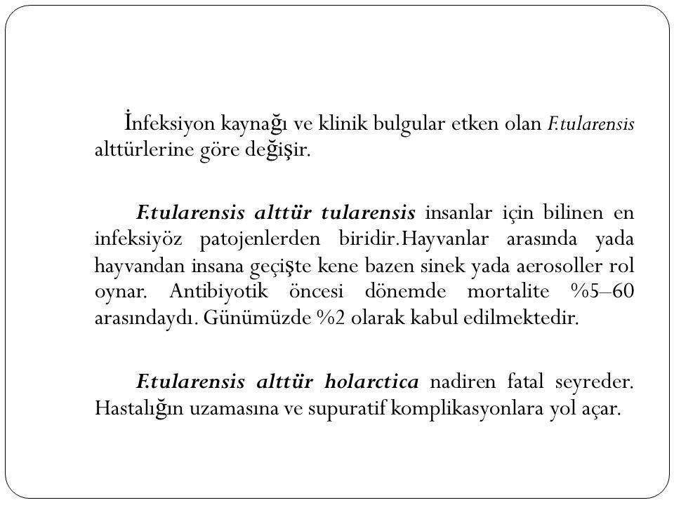 İ nfeksiyon kayna ğ ı ve klinik bulgular etken olan F.tularensis alttürlerine göre de ğ i ş ir. F.tularensis alttür tularensis insanlar için bilinen e