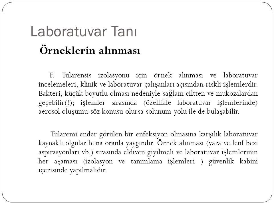 Laboratuvar Tanı Örneklerin alınması F. Tularensis izolasyonu için örnek alınması ve laboratuvar incelemeleri, klinik ve laboratuvar çalı ş anları açı