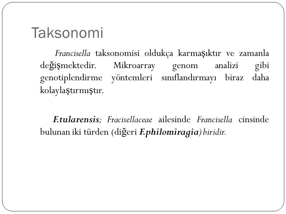 Taksonomi Francisella taksonomisi oldukça karma ş ıktır ve zamanla de ğ i ş mektedir. Mikroarray genom analizi gibi genotiplendirme yöntemleri sınıfla