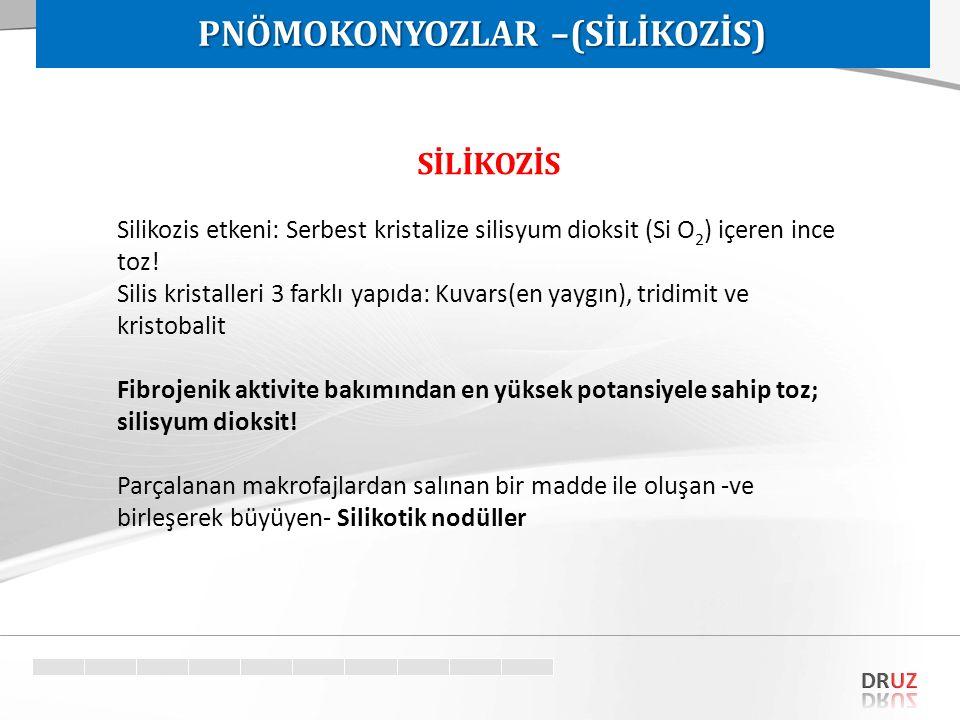 SİLİKOZİS Silikozis etkeni: Serbest kristalize silisyum dioksit (Si O 2 ) içeren ince toz! Silis kristalleri 3 farklı yapıda: Kuvars(en yaygın), tridi
