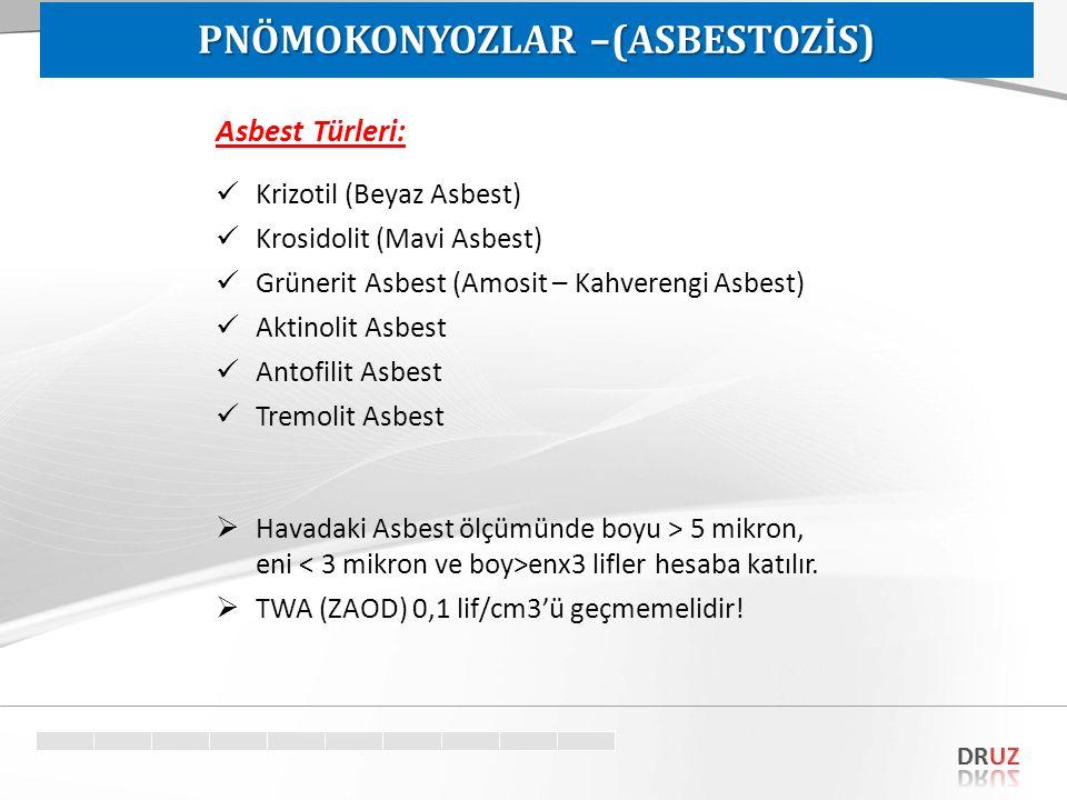 Asbest Türleri: Krizotil (Beyaz Asbest) Krosidolit (Mavi Asbest) Grünerit Asbest (Amosit – Kahverengi Asbest) Aktinolit Asbest Antofilit Asbest Tremol
