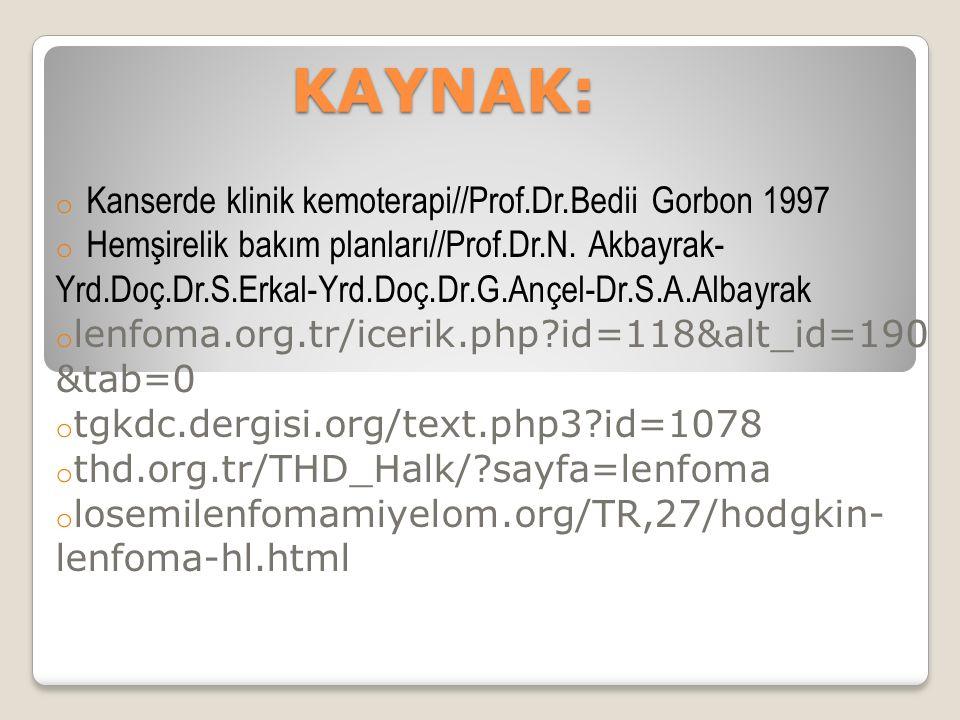 KAYNAK: o Kanserde klinik kemoterapi//Prof.Dr.Bedii Gorbon 1997 o Hemşirelik bakım planları//Prof.Dr.N.