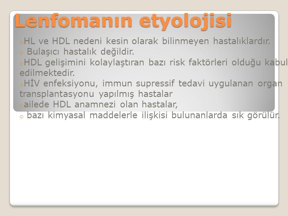 Lenfomanın etyolojisi o HL ve HDL nedeni kesin olarak bilinmeyen hastalıklardır.