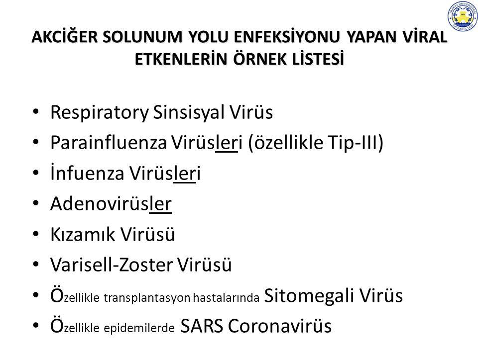 AKCİĞER SOLUNUM YOLU ENFEKSİYONU YAPAN VİRAL ETKENLERİN ÖRNEK LİSTESİ Respiratory Sinsisyal Virüs Parainfluenza Virüsleri (özellikle Tip-III) İnfuenza Virüsleri Adenovirüsler Kızamık Virüsü Varisell-Zoster Virüsü Ö zellikle transplantasyon hastalarında Sitomegali Virüs Ö zellikle epidemilerde SARS Coronavirüs
