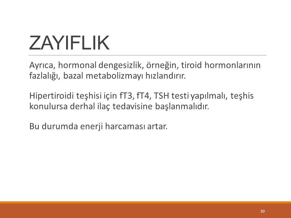 ZAYIFLIK Ayrıca, hormonal dengesizlik, örneğin, tiroid hormonlarının fazlalığı, bazal metabolizmayı hızlandırır. Hipertiroidi teşhisi için fT3, fT4, T