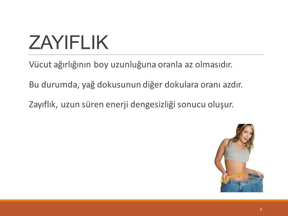 ZAYIFLIK Vücut ağırlığının boy uzunluğuna oranla az olmasıdır.